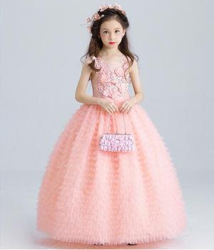 Роскошное розовое платье из тюля с цветочным принтом для девочек, детское свадебное платье, платье до щиколотки с аппликацией из бисера, дет