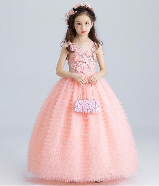 Luxe rose Tulle fleur fille robe enfants robe de mariée cheville longueur Appliques perle enfants fête robe de bal première Communion robes