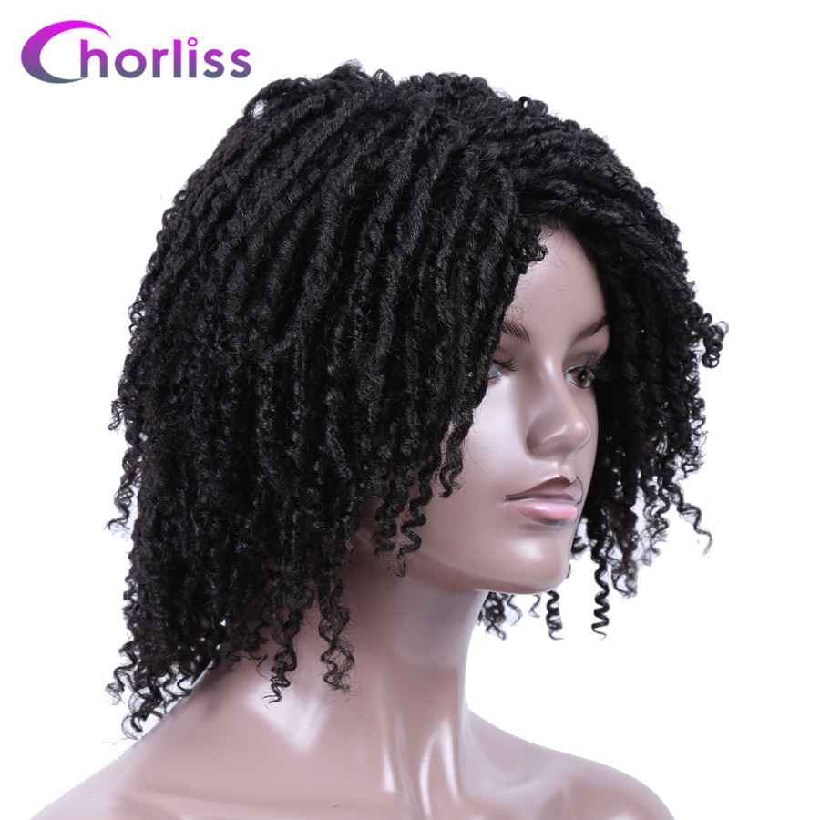 14'' Soft Dreadlocks Hair Wigs For Women Chorliss Ombre Short Synthetic Faux Locs Wigs With Curly Ends Black Bug Twist Crochet(China)