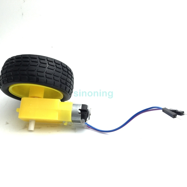 Car Gear Dc Motor Robot Gear Motor Tt Wheel Tire With Dupont Male
