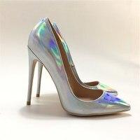 Новые роскошные каблук Красочные обувь серебристого цвета женская обувь с острым носком туфли лодочки на очень высоком 12co. m обувь на каблук
