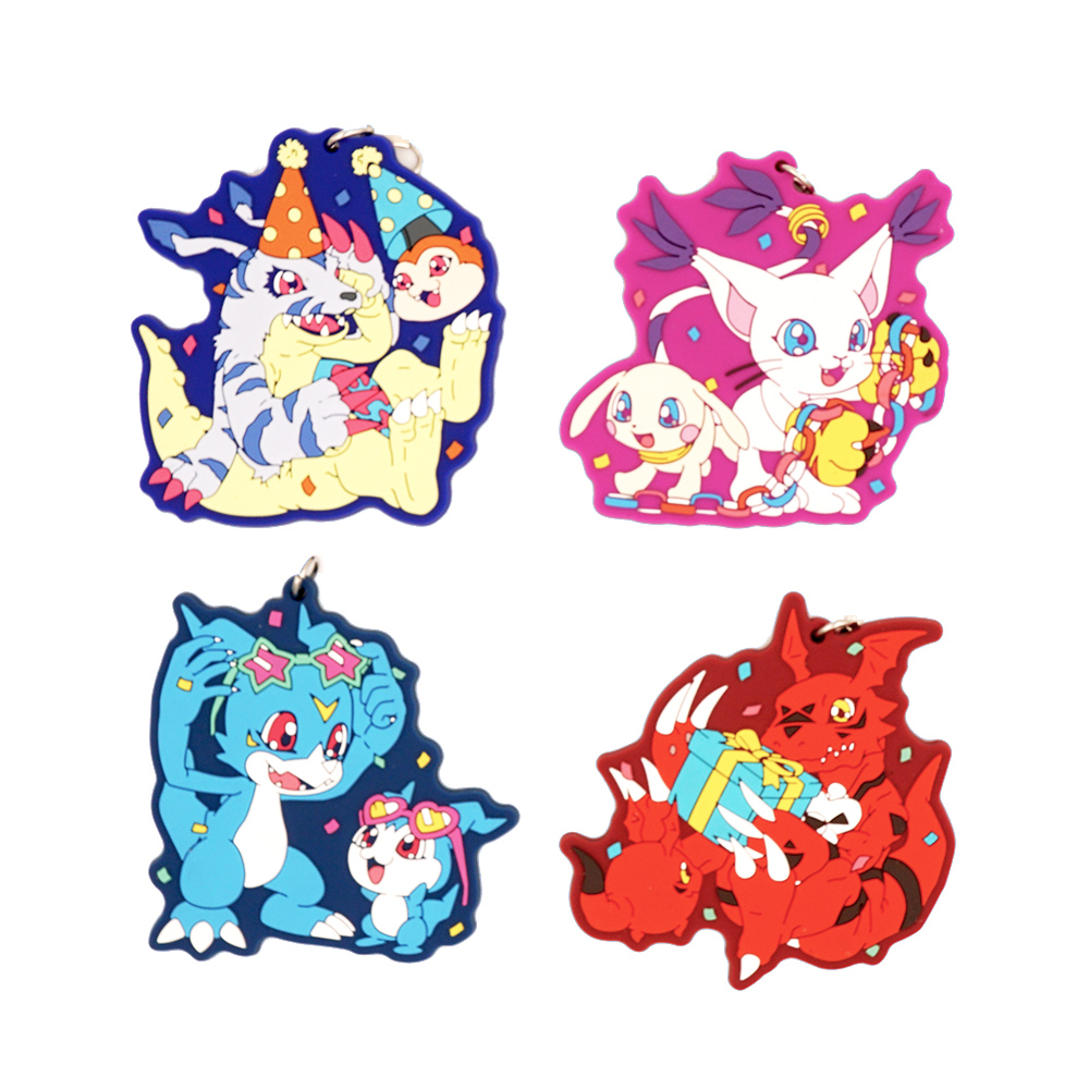 Digimons Anime Digital Monster Shoutmon V-mon Tailmon Gabumon Rubber Strap Keychain(China)