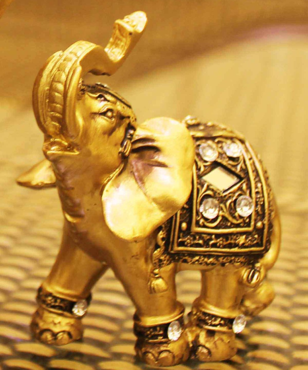Golden Elephant Figurines Statue Decorative Figurines Resin Garden Figures Home Decoration Accessories Lucky Elephant Statues