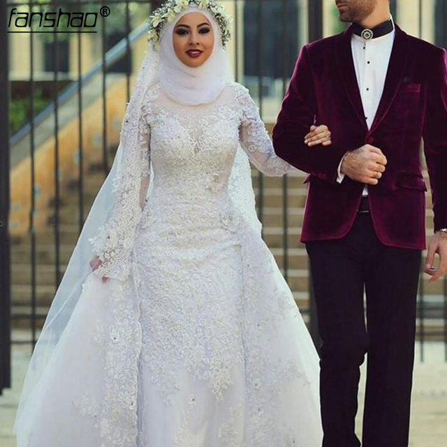 Fashion White Muslim Wedding Dress Hijab Long Sleeves Lace Beaded Dubai Arabic Wedding Gown Bridal