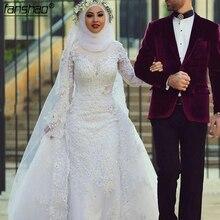 Moda branco muçulmano vestido de casamento hijab mangas compridas rendas frisado dubai árabe vestido de casamento nupcial