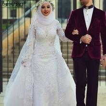 Mode Weiß Muslimischen Hochzeit Kleid Hijab Langen Ärmeln Spitze Perlen Dubai Arabisch Brautkleid Braut