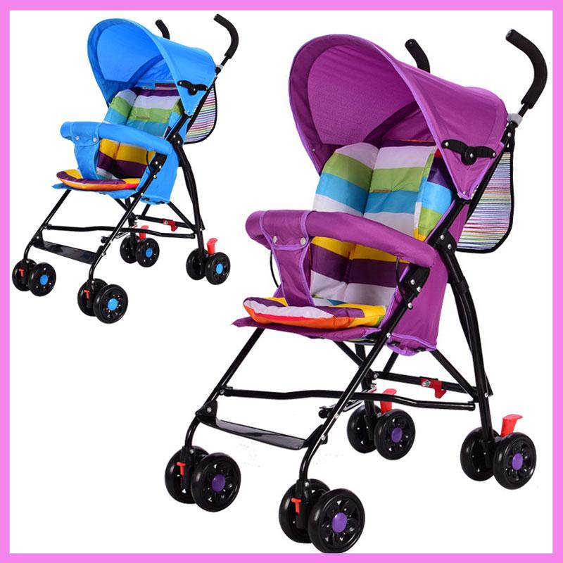 Portable Umbrella Baby Stroller Trolley Car Quick Folding Key Shock Resistant Mini Lightweight Baby Stroller Cotton Cushion Pram