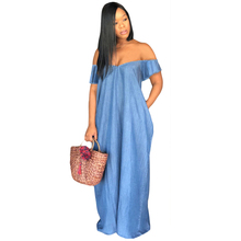 Plus Size Blue Women Denim Dresses Sexy Off Shoulder Short Sleeve Jeans Loose Maxi Dress Casual Vestidos Long Beach Summer Dress 2019 new summer dress denim vestidos women plus size xxxl 4xl casual o neck loose short sleeve jeans dress blue kkfy3556