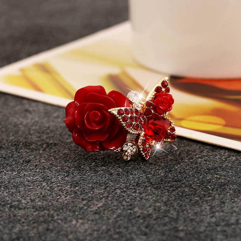 5 色新着ファッションローズ蝶エレガントなクリスタルリング女性のための婚約パーティーリング宝石類のギフト
