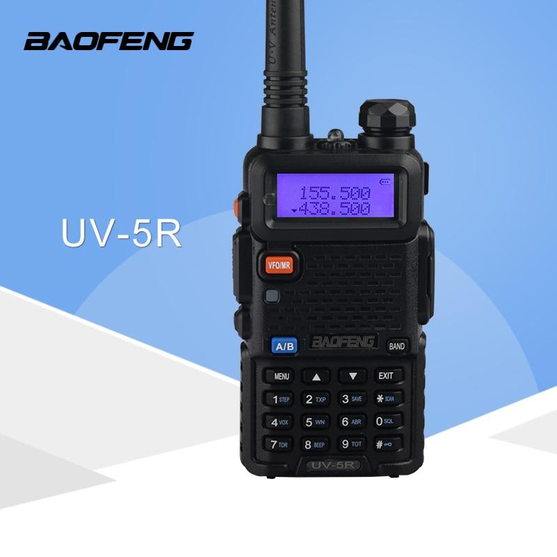 Walkie Talkie baofeng UV5R jamón radio de dos vías walkie talkie transceptor de doble banda (negro)