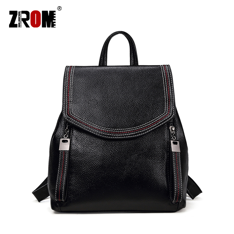 ZROM Brand Women Backpack High Quality Genuine Leather Backpacks for Teenage Girls Female School Fashion Shoulder
