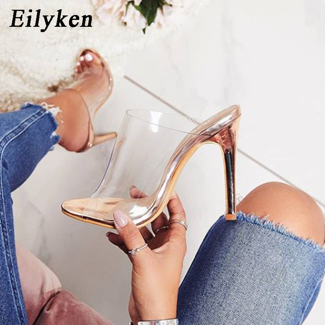 Eilyken 2019 New PVC champagne Slippers Open Toed Sexy Thin Heels Women Transparent Heel Sandals Slides Pumps