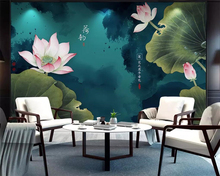 цена на beibehang Chinese mural wallpaper ink ink lotus lotus living room bedroom background wall decoration painting TV 3d background