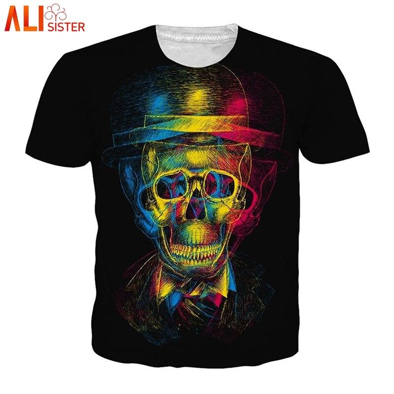 Alisister 3d Skull T Shirt Men Women EUR Plus Size Summer Unisex Hip Hop Funny Tee Shirt Homme Clothing Camiseta Hombre Dropship