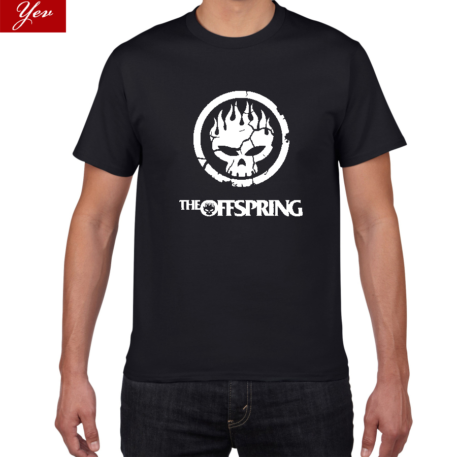 Flame Skull Head PUNK T-shirt Men Hot New Popular The Offspring Skull Punk Band Tshirt Men Top Quality Cotton Tee Shirts Men
