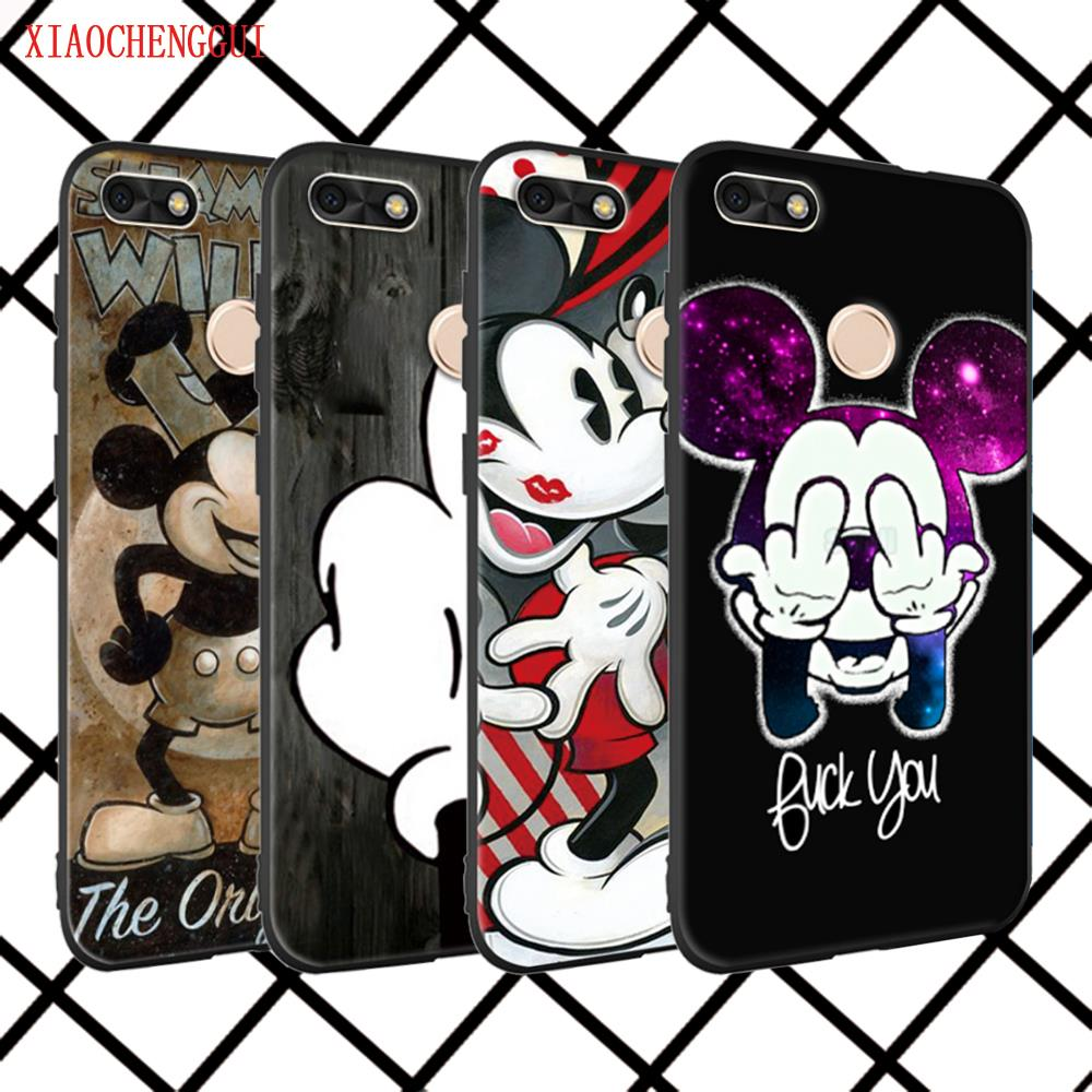 For huawei P8Lite 2017 Cover Case Cartoon Mickey Minnie Mouse black Soft silicone For huawei P series Mobile Phone Cases