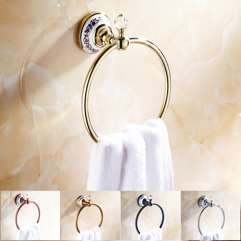 Bathroom Accessories Chrome/&Gold Brass Wall Mounted Towel Ring Hanger Toilet