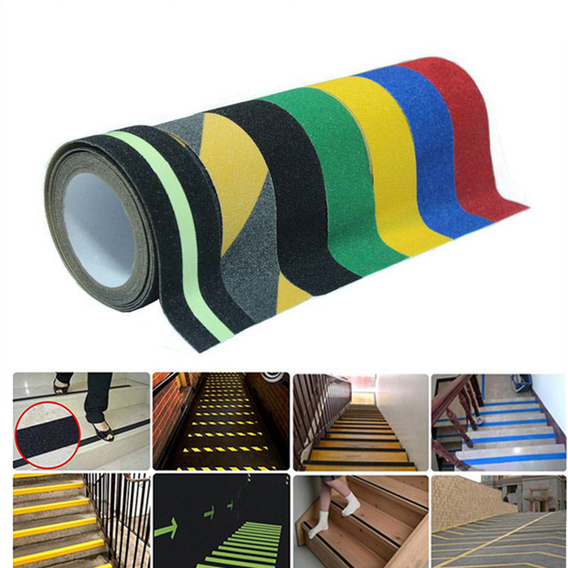 2.5CM*5M/5CM*10M Anti-skid Warning Tape Non-slip Stickers Bathroom Safety Applique Bath Tape Bathtub Staircase Slip Strip striped tape applique velvet pants