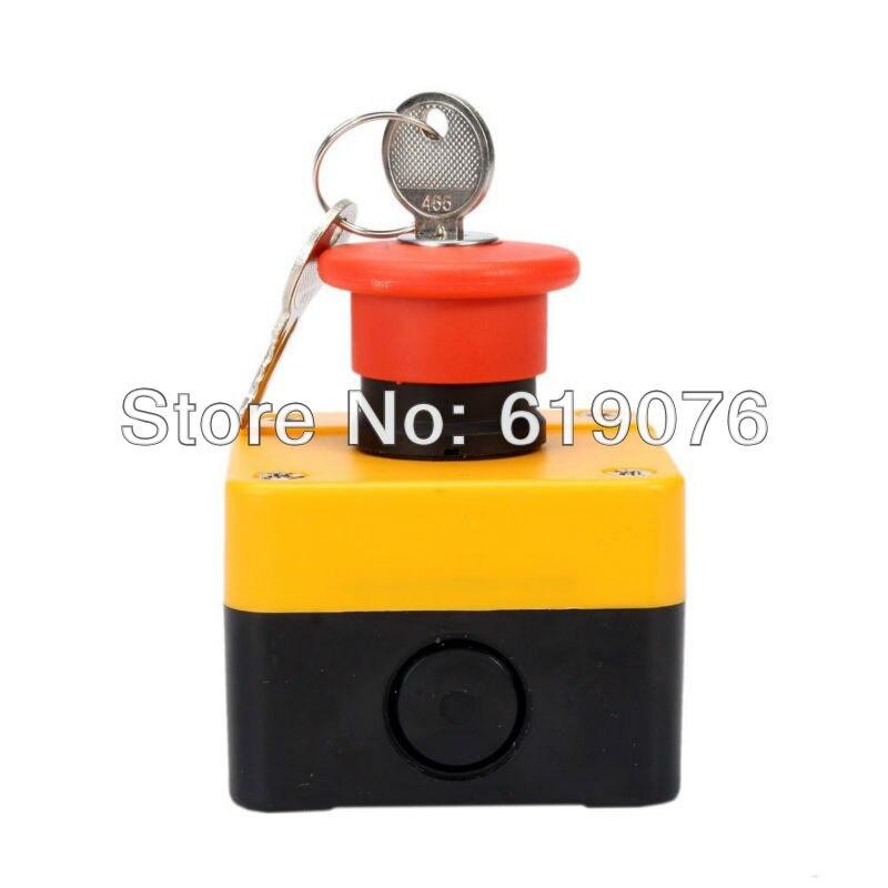 Mushroom head elevator emergency stop button switch with key box 1NC power emergency swi ...