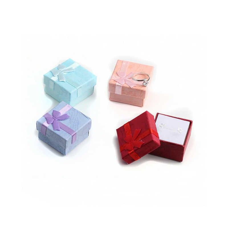 1 pc חם באיכות גבוהה ארגונית 4 צבעים מחזיק תכשיטי אופנה שיק אחסון מיני טבעות תיבת אריזת מתנה נייר ספוג עבור עגילים