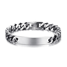 Mens Vintage Gray Miami Cuban-link ID Tag Bracelet for Men Stainless Steel Industrial Age Style Braslet Male Jewerly 8 Inch