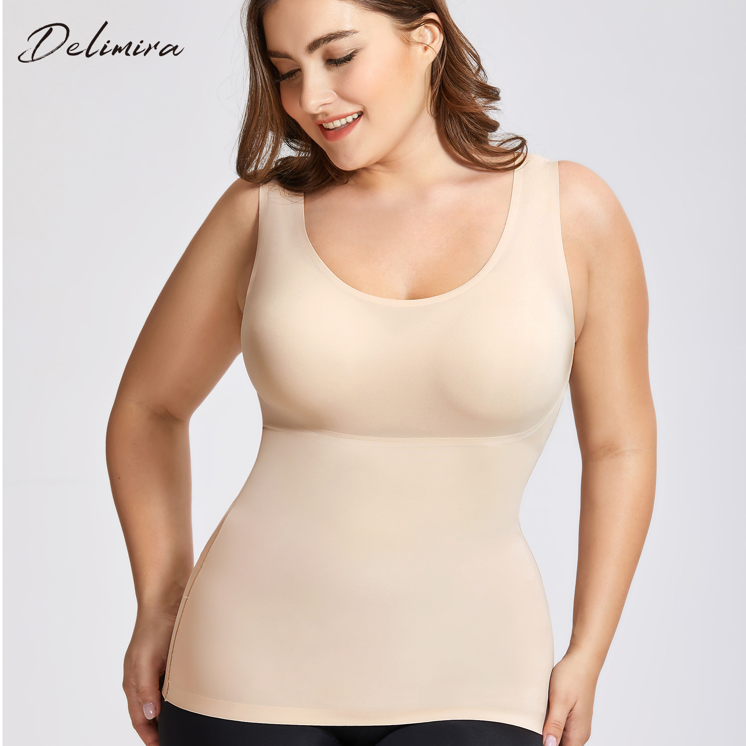 DELIMIRA Women's Plus Size Tummy Control Shapewear Smooth Body Shaping Camisole Basic Tank Tops