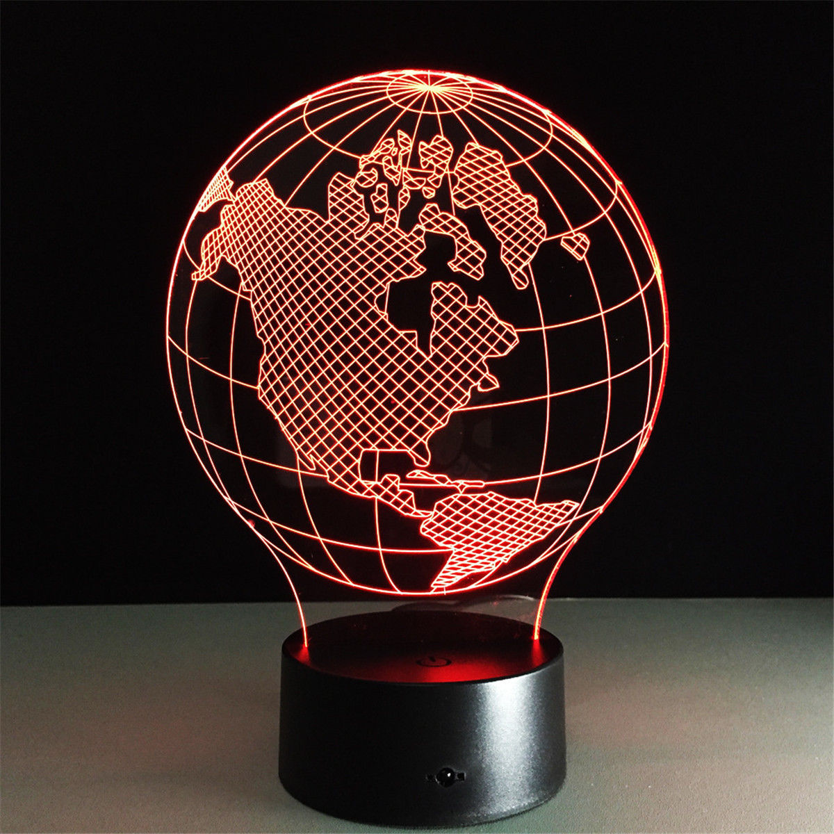 Earth 3D Illusion Night Light Color Change Touch Switch Led Usb Table Desk Lamp Lamp Touch Sensor Light