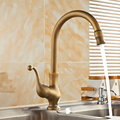 Free Shipping Antique copper 360 rotated kitchen dish basin faucet mixer tap, Brass bathroom basin faucet hot and cold Whosale