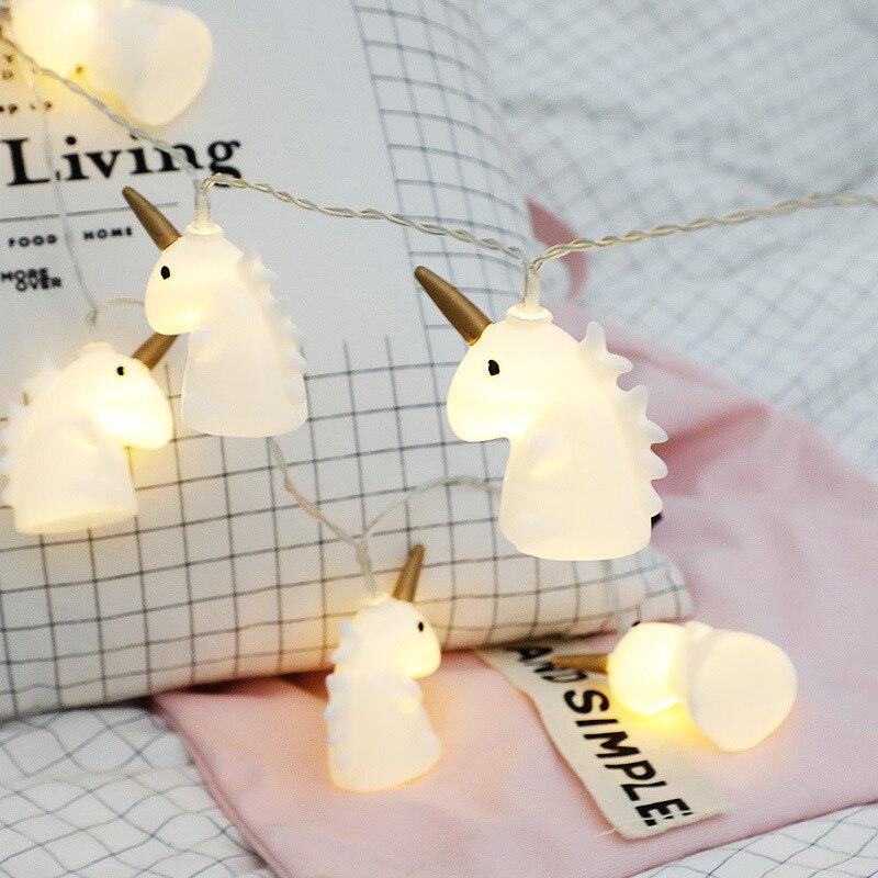 10 LED Unicorn Fairy Garland String Lights Cartoon Christmas Battery Power Holiday Wedding Party Home Girl Bedroom Decoration