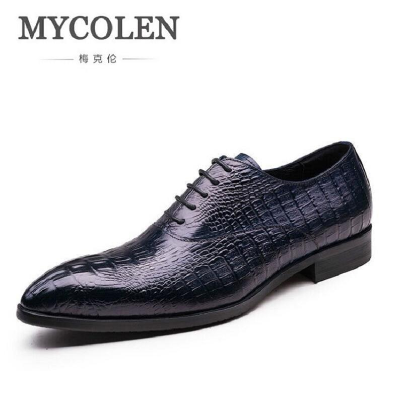 MYCOLEN New Arrival Men Dress Shoes Crocodile Pointed Toe Business Shoes Men Real Leather Breathable Moccasins Men Flats new arrival men s oxford shoes italian design embossed leather pointed toe stone pattern decoration business men dress shoes