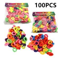 100 шт Разноцветные Резиночки для волос, бесшовные резинки для волос, аксессуары