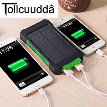 Tollcuudda Tahan Air 10000 MAh Bank Tenaga Surya Solar Charger Ganda USB Power Bank dengan LED Light untuk iPhone 6 Ditambah Ponsel telepon