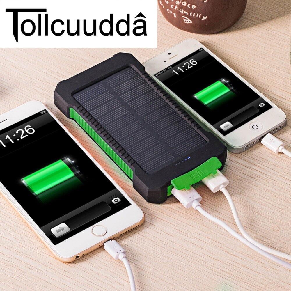 imágenes para Tollcuudda impermeable 10000 mah banco de la energía solar cargador solar dual usb banco de la energía con la luz llevada para el iphone 6 plus móvil teléfono
