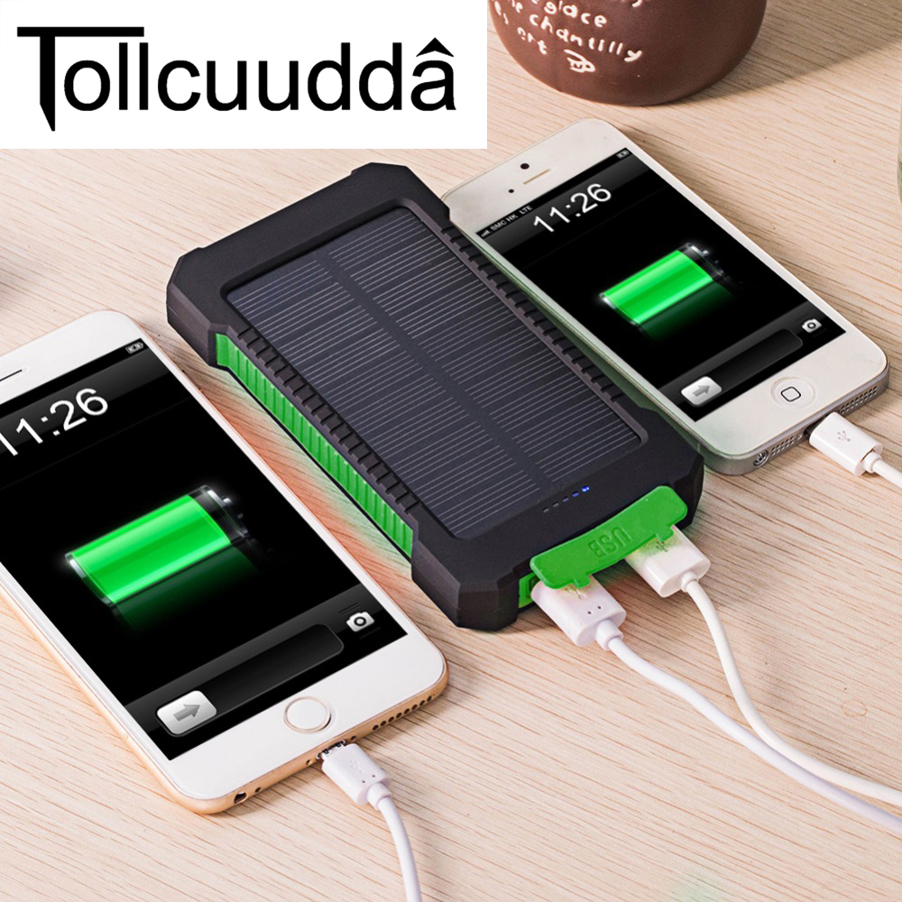 Vattentät 10000Mah Solar Power Bank Solar Charger Dual USB Power Bank med LED-ljus för iPhone 6 Plus Xiaomi mobiltelefon