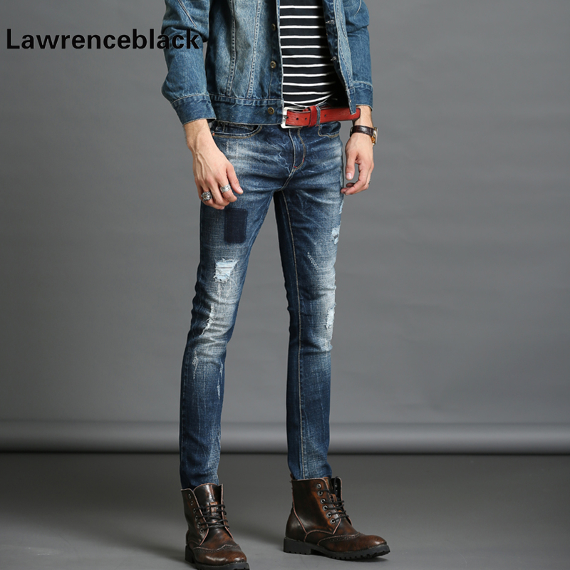 Ripped Skinny Jeans Men Stretch Hole Jean Cool Jean Slim Blue Color Trousers Casual Hip Hop Pants Elastic Denim Trousers Men 227 patch jeans men slim skinny denim blue jeans ripped trousers famous brand dsel jeans elastic pants star mens stretch jeans w701