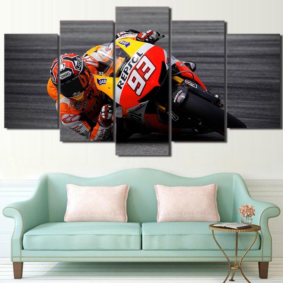 Современная живопись холст Framework HD печати стены Книги по искусству фотографии 5 шт. спортивный мотогонок плакат Гостиная украшения дома