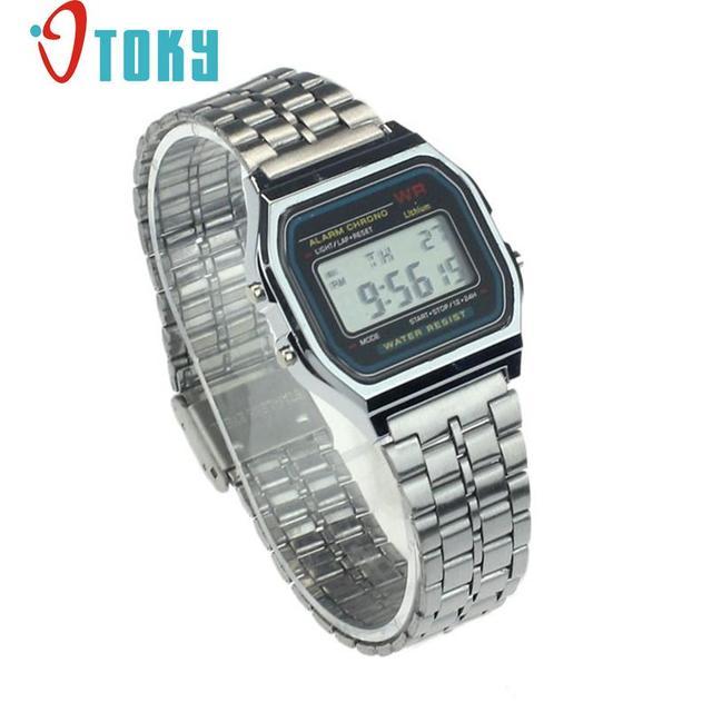 New Luxury Vintage Womens Men Stainless Steel Digital Alarm Stopwatch Wrist Watc