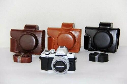 Leather Camera case bags with Grip strap Shoulder Strap for Olympus EM10 II EM-10 II