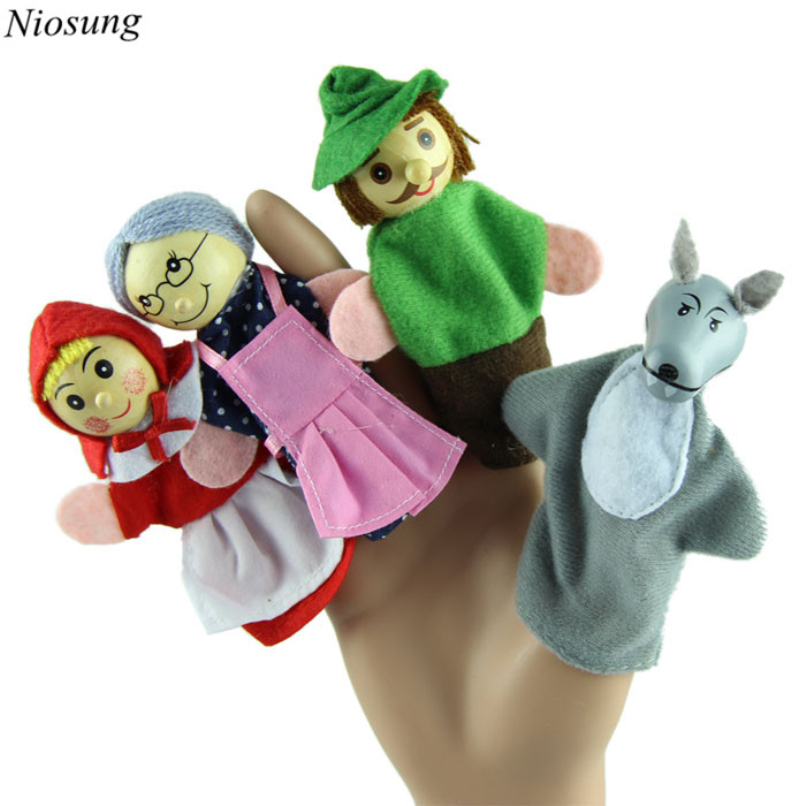 New-4PCSSet-Little-Red-Riding-Hood-Christmas-Animal-Finger-Puppet-toy-Educational-Toys-Storytelling-Doll-wholesale-1