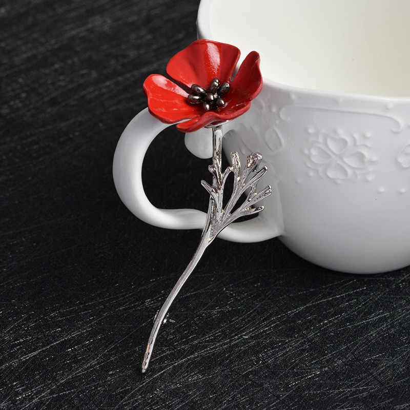 3D винтажный Красный мак кальмар брошь на булавке для воротника корсаж золото серебро черные булавки рубашка значок винтажное украшение в подарок для женщин