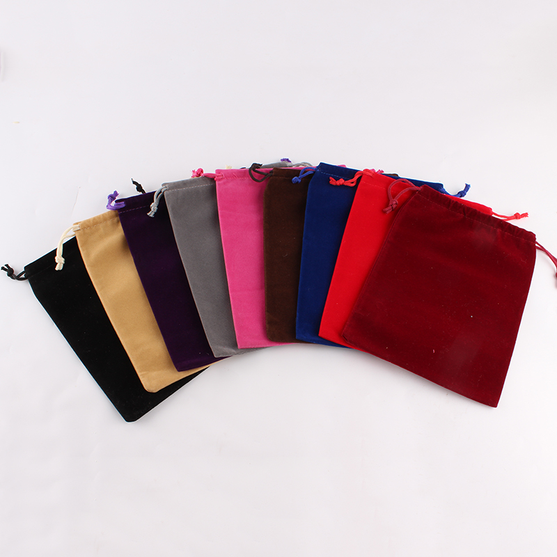 50pcs/Lot 15*20cm Customized Logo Mixed-Color Printed Velvet Drawstring Pouch Packing Bags