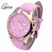 Louise New Casual Watch Women Dress Watches Roman PU Leather Quartz WristWatch For Women Men relogio