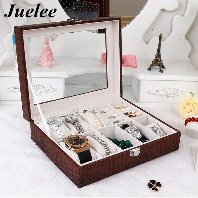 Juelee 10 Grid Crocodile Leather Watch Box Display Case Box Jewelry
