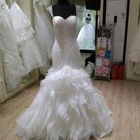 2019 New Luxury African Mermaid Wedding Dress Ruffles Bridal Gowns