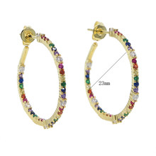 2019 Anting-Anting untuk Wanita Micro Membuka Multi Color CZ Emas Hoop Anting-Anting 23 Mm Lingkaran Besar Hoop Ear Steampunk Round anting-Anting Set(China)