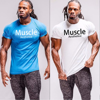Muscle Aesthetics Brothers Fitness Sports T shirt Sweat Breathing Short sleeved Running Training Tide Summer Cotton Men