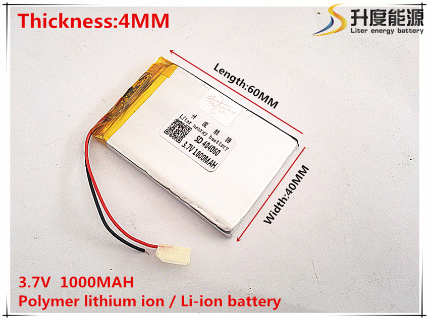 3.7v,1000mah, sd Polymer Lithium Ion / Li-ion Battery For Toy,power Bank,gps,mp3,mp4,cell Phone,speaker 404060 Professional Sale 1pcs