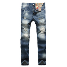Men Hole Nostalgia Grinding white  Straight Europe and the United States street jeans