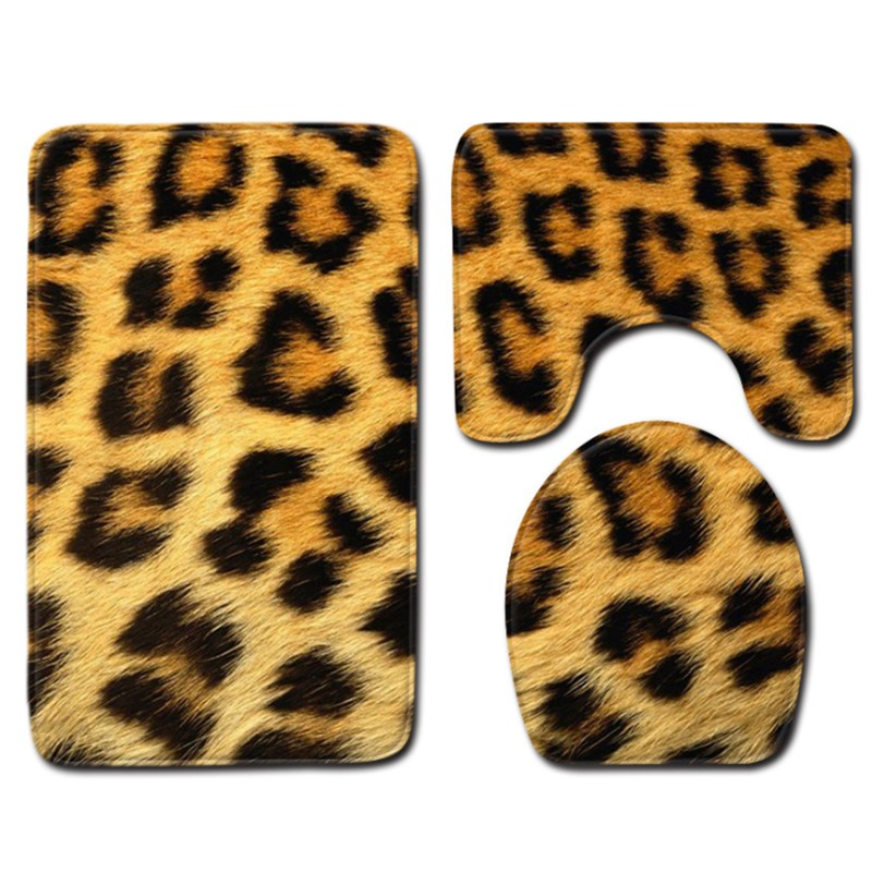 3 pieces/Set Animal Skin Leopard Tiger Pattern Bath Mat Contour Pedestal Rug Lid Toilet Cover Carpet Bathroom Set