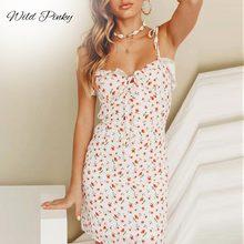 WildPinky Casual Floral Print Short Dress Women 2019 Summer Holiday Sexy Beach Chiffon Femme Lace Up Vestidos